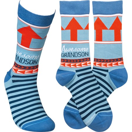 Socks - Awesome Grandson - One Size Fits Most - Cotton, Nylon, Spandex