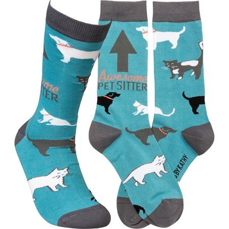 Socks - Awesome Pet Sitter - One Size Fits Most - Cotton, Nylon, Spandex