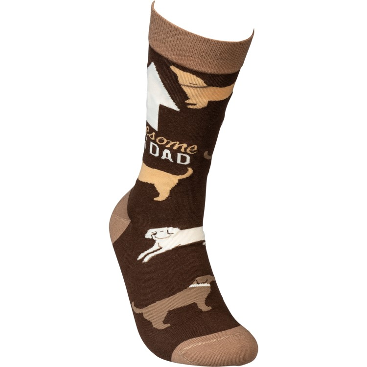 Socks - Awesome Dog Dad - One Size Fits Most - Cotton, Nylon, Spandex
