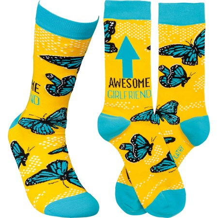 Socks - Awesome Girlfriend - One Size Fits Most - Cotton, Nylon, Spandex