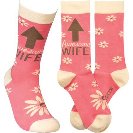 Socks - Awesome Wife - One Size Fits Most - Cotton, Nylon, Spandex