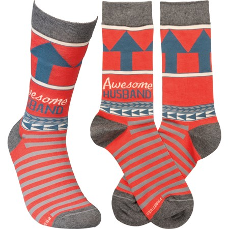 Socks - Awesome Husband - One Size Fits Most - Cotton, Nylon, Spandex