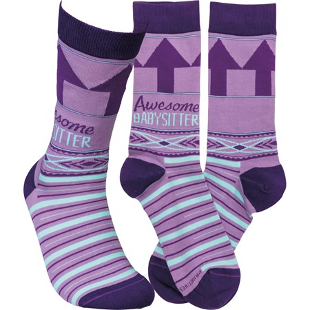 Socks - Awesome Babysitter - One Size Fits Most - Cotton, Nylon, Spandex
