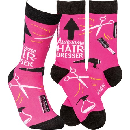 Socks - Awesome Hairdresser - One Size Fits Most - Cotton, Nylon, Spandex