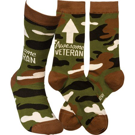 Socks - Awesome Veteran - One Size Fits Most - Cotton, Nylon, Spandex