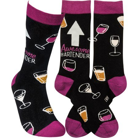 Socks - Awesome Bartender - One Size Fits Most - Cotton, Nylon, Spandex