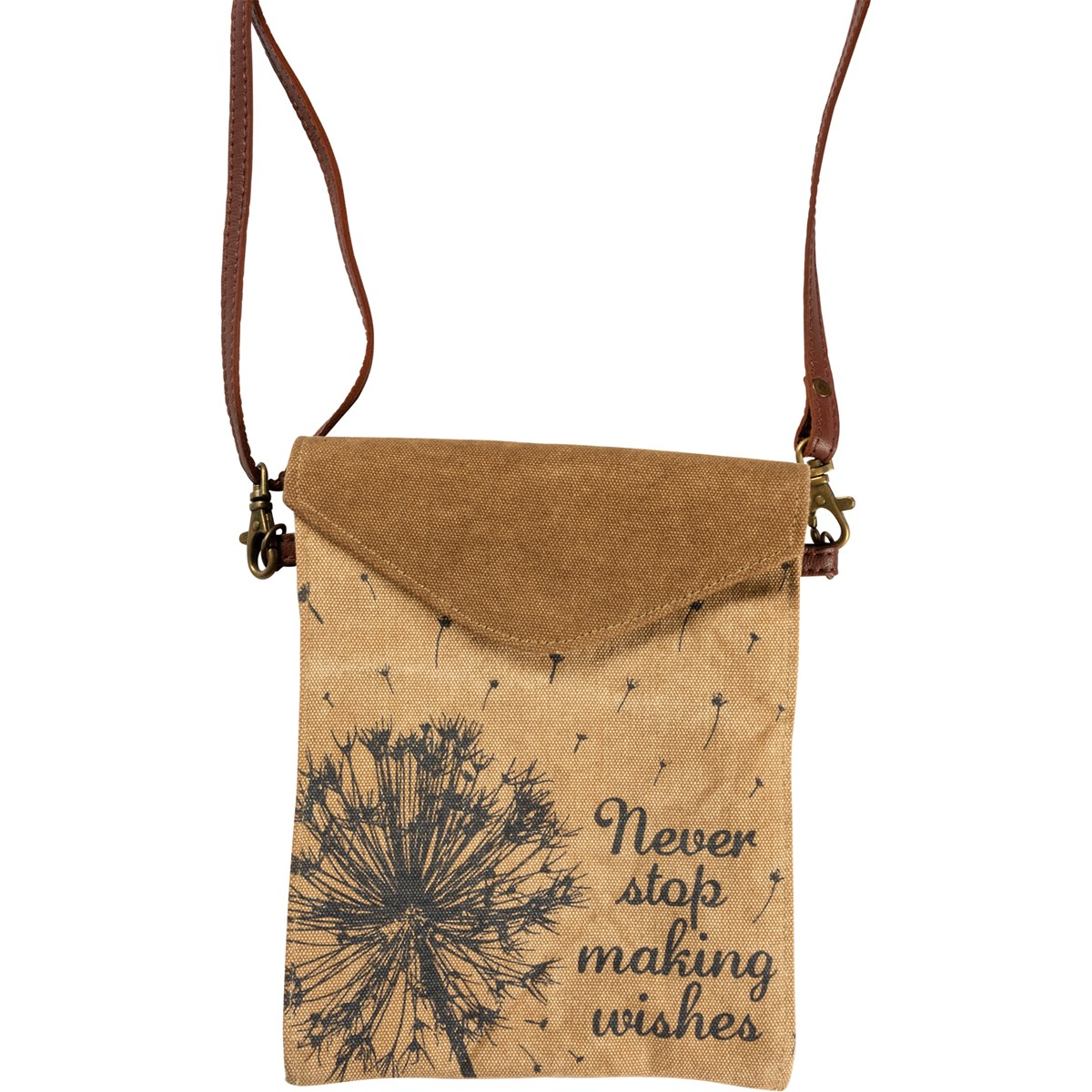 "Crossbody Bag - Never Stop Making Wishes - 6.50"" x 7.75"", Adjustable Handle Drop - Canvas, Leather, Metal"