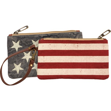 "Wristlet - Stars Stripes - 8.50"" x 4.50"" - Canvas, Leather, Metal"