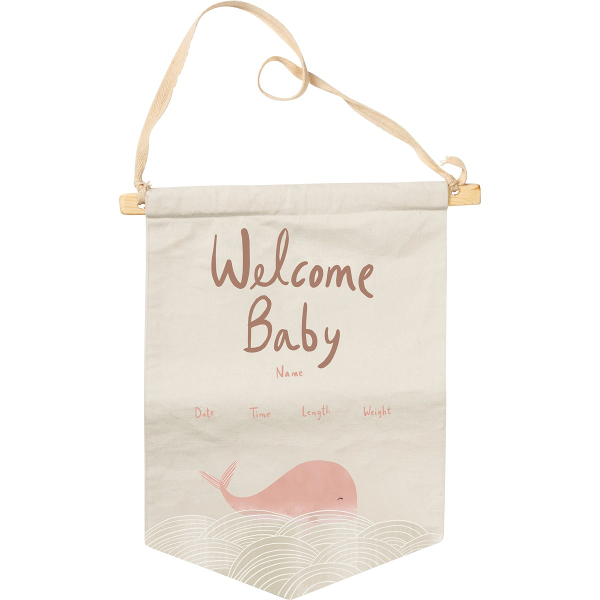 "Banner - Welcome Baby Pink - 10"" x 14"" - Cotton, Wood"