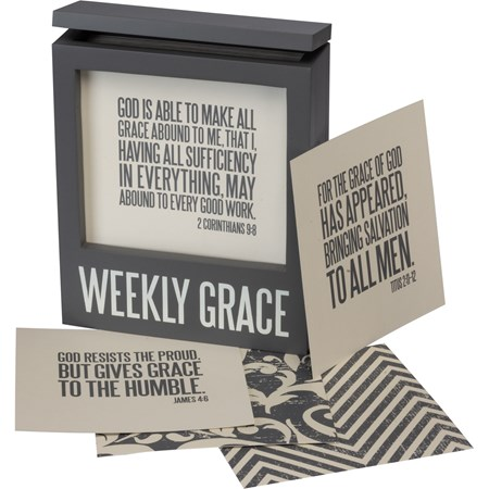 "Words Of Wisdom - Weekly Grace - 5.75"" x 6.75"" x 2.25"", Cards: 5"" x 5"" - Wood, Paper, Metal"