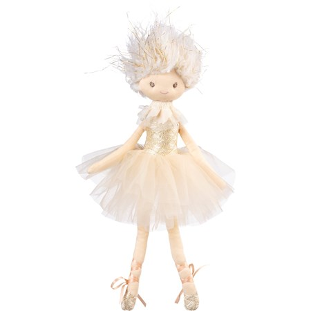 "Doll - Ballerina Ivory - 7"" x 17"" x 3"" - Cotton, Polyester, Plastic, Ribbon"