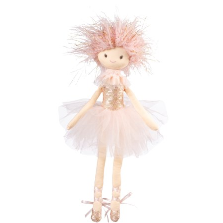 "Doll - Ballerina Pink - 7"" x 17"" x 3"" - Cotton, Polyester, Plastic, Ribbon"