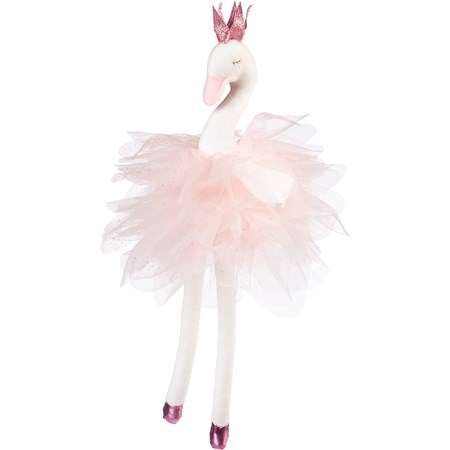 "Doll - Ballerina Swan - 7"" x 18"" x 6"" - Cotton, Polyester, Ribbon"