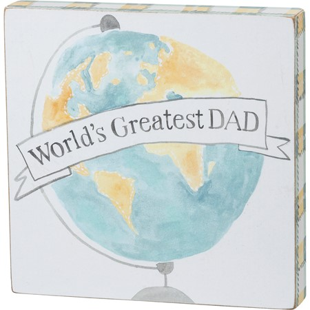 "Block Sign - Greatest Dad - 6"" x 6"" x 1"" - Wood, Paper"