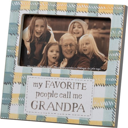 "Plaque Frame - My Favorite People Call Me Grandpa - 6"" x 6"" x 0.50"", Fits 5"" x 3"" Photo - Wood, Paper, Glass, Metal"