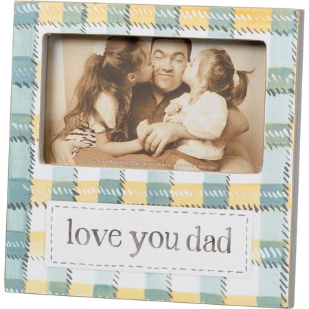 "Plaque Frame - Love You Dad - 6"" x 6"" x 0.50"", Fits 5"" x 3"" Photo - Wood, Paper, Glass, Metal"