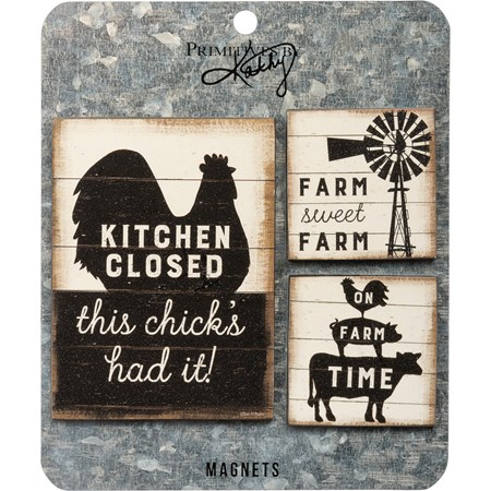 "Magnet Set - Farm Sweet Farm - 3"" x 4"", 2"" x 2"", Card: 5.50"" x 6.50""  - Wood, Paper, Metal, Magnet"