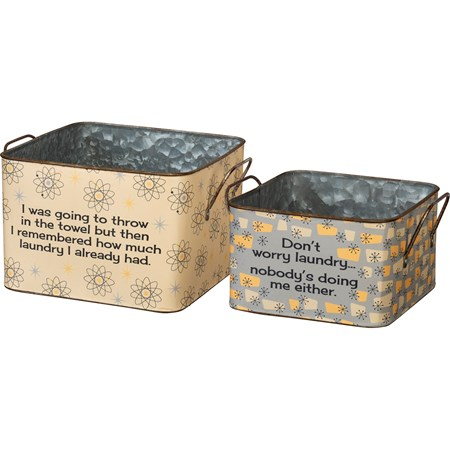 "Bin Set - I Remembered How Much Laundry - 15"" x 6.25"", 9.25"" x 4.50"" - Metal, Paper"