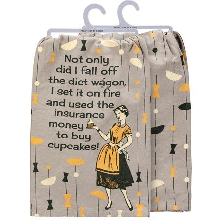 "Dish Towel - Fall Off The Diet Wagon - 28"" x 28"" - Cotton"