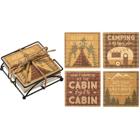 "Coaster Set - Camping Is My Happy Place - 4"" x 4"" x 1.50"" - Stone, Metal, Cork"