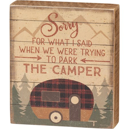 "Block Sign - Trying To Park The Camper - 3.50"" x 4"" x 1"" - Wood, Paper"