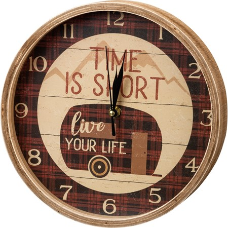 "Clock - Time Is Short Live Your Life - 9.50"" Diameter x 1.75"" - Wood, Paper, Glass, Metal"