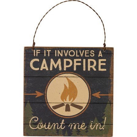 "Ornament - Campfire Count Me In - 5"" x 5"" x 0.25"" - Wood, Paper, Wire"