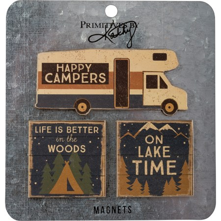 "Magnet Set - Happy Campers - 4"" x 1.75"", 2"" x 2"", Card: 5.50"" x 5.75"" - Wood, Paper, Metal, Magnet"