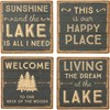 "Coaster Set - This Is Our Happy Place - Lake - 4"" x 4"" x 1.50"" - Stone, Metal, Cork"