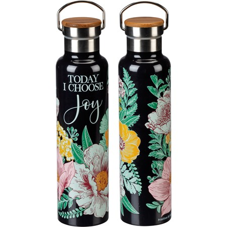 "Insulated Bottle - Today I Choose Joy - 25 oz., 2.75"" Diameter x 11.25"" - Stainless Steel, Bamboo"