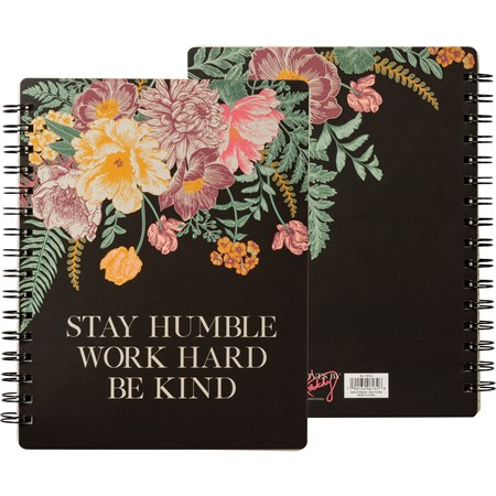 "Spiral Notebook - Stay Humble Work Hard - 7"" x 9"" x 0.50"" - Paper, Metal"