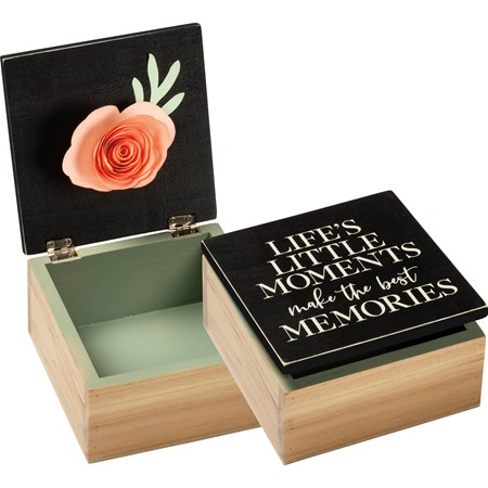 "Hinged Box - Little Moments Best Memories - 5"" x 5"" x 2.75"" - Wood, Paper, Metal"