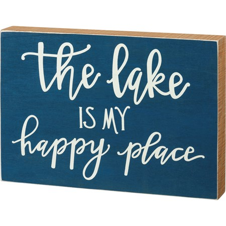 "Box Sign - The Lake Is My Happy Place - 13"" x 9"" x 1.75"" - Wood"