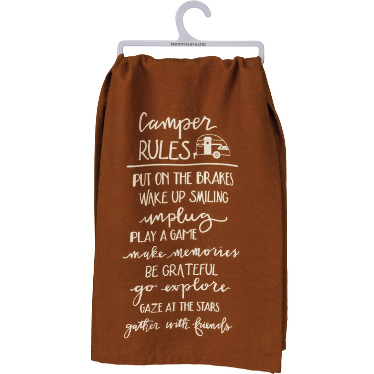 "Dish Towel - Camper Rules - 28"" x 28"" - Cotton"
