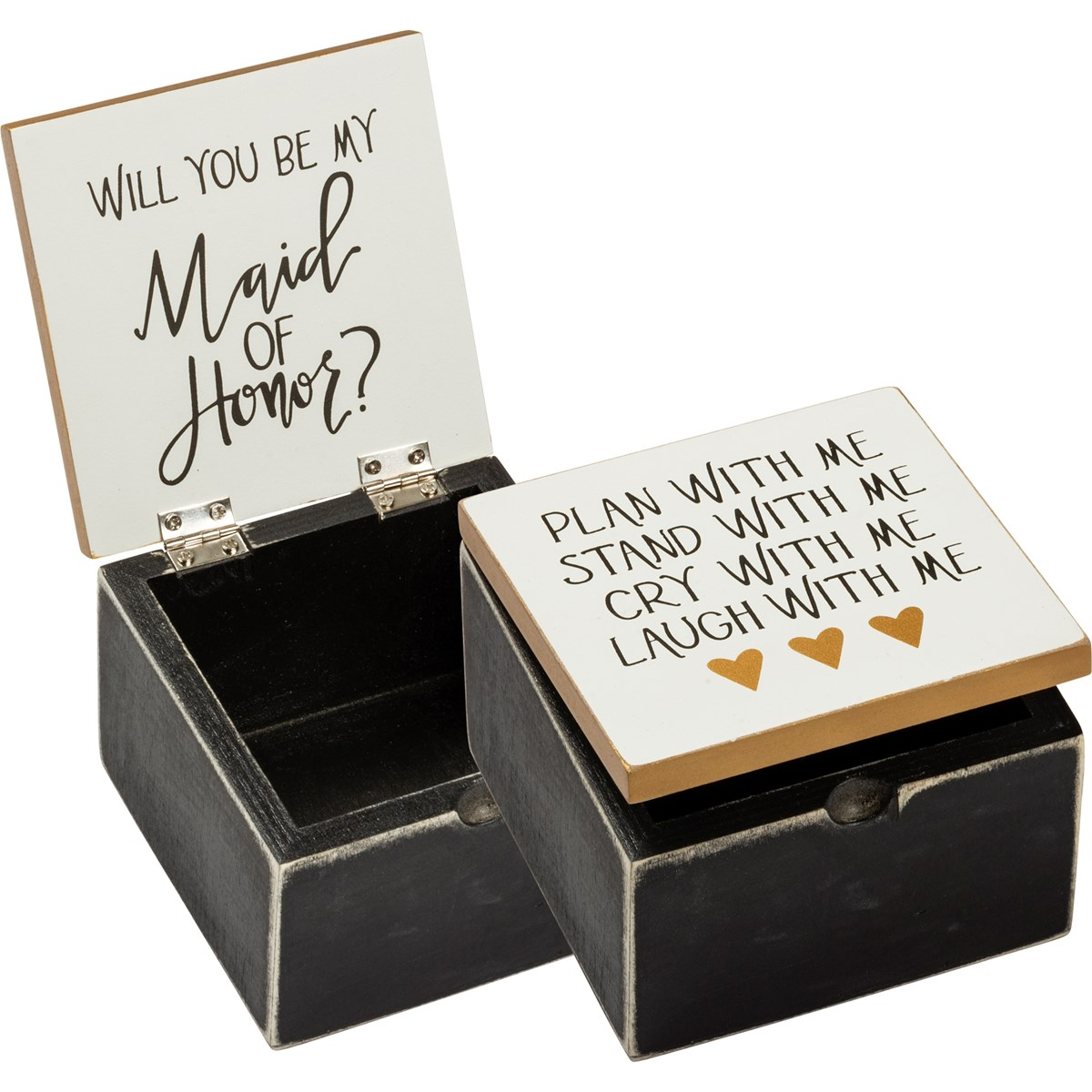 "Hinged Box - Plan With Me Be My Maid Of Honor - 4"" x 4"" x 2.75"" - Wood, Metal"