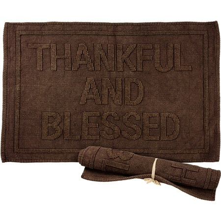 "Rug - Thankful And Blessed - 32"" x 20"" - Cotton"