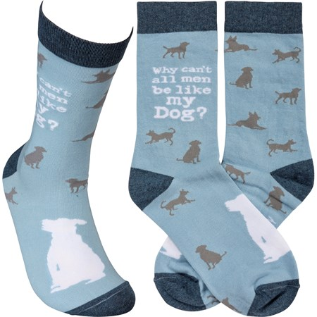 Socks - Why Can't All Men Be Like My Dog - One Size Fits Most - Cotton, Nylon, Spandex