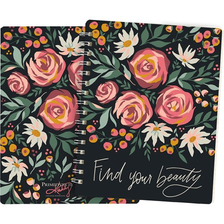 "Spiral Notebook - Find Your Beauty - 5.75"" x 7.50"" x 0.50"" - Paper, Metal"