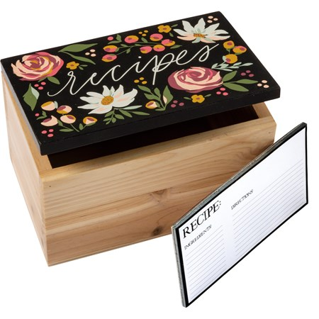 "Recipe Box - Recipes - 6.25"" x 4"" x 4"" - Wood, Metal, Paper"
