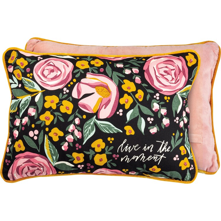 "Pillow - Live In The Moment - 20"" x 14"" - Cotton, Velvet, Zipper"