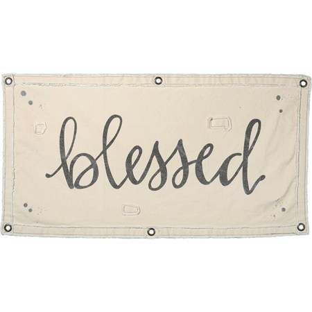 "Wall Banner - Blessed - 40"" x 20"" - Canvas, Metal"