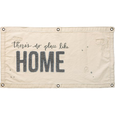 "Wall Banner - There Is No Place Like Home - 40"" x 20"" - Canvas, Metal"