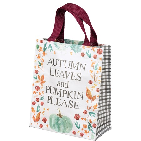 "Daily Tote - Autumn Leaves And Pumpkin Please - 8.75"" x 10.25"" x 4.75"" - Post-Consumer Material, Nylon"