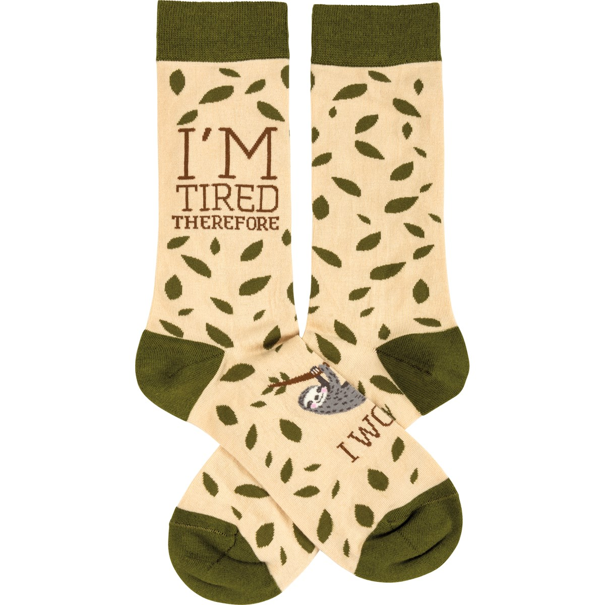 Socks - Sloth - I'm Tired Therefore I Won't - One Size Fits Most - Cotton, Nylon, Spandex