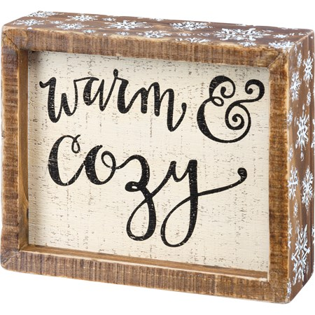 "Inset Box Sign - Warm & Cozy - 6"" x 5"" x 1.75"" - Wood"