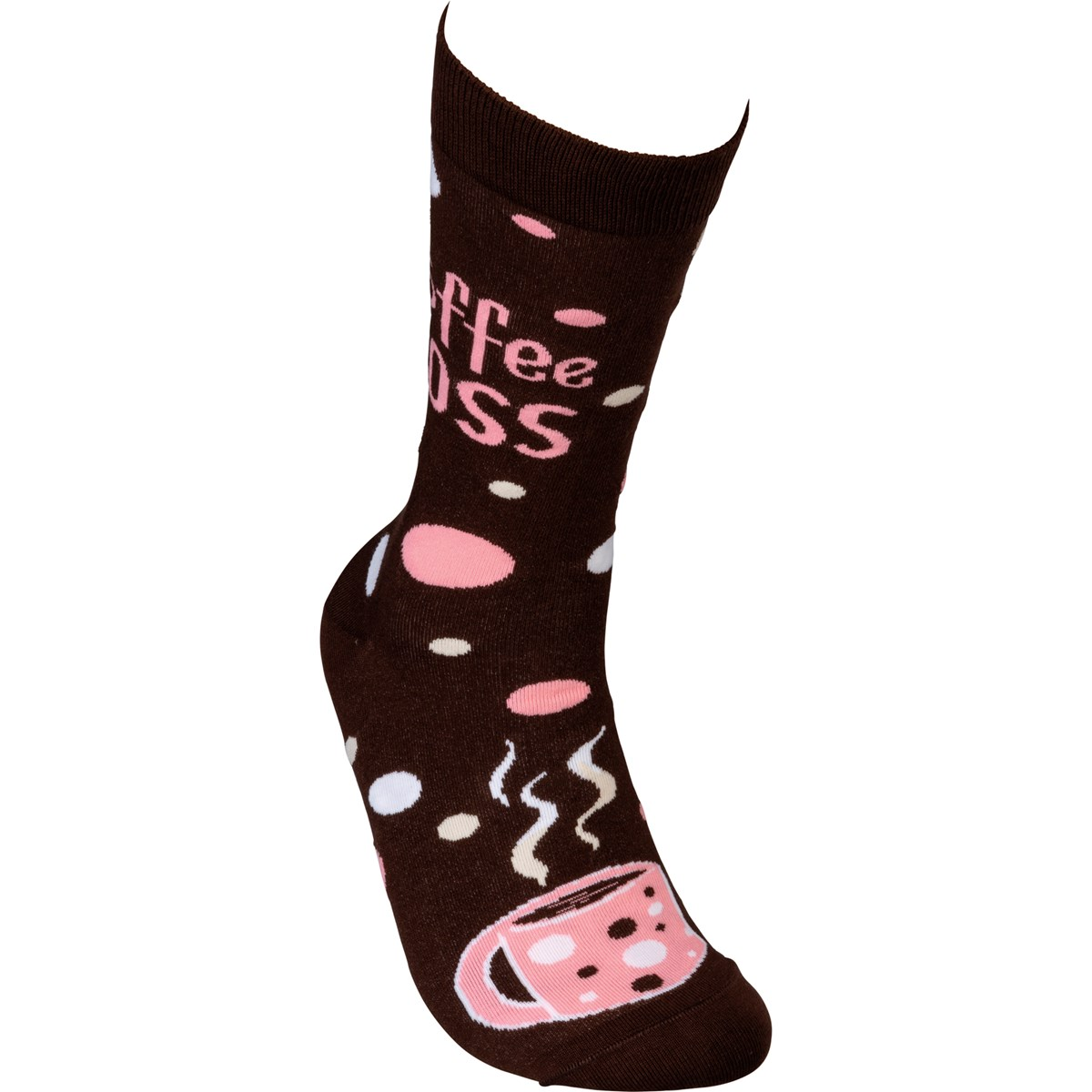 Socks - Coffee Boss - One Size Fits Most - Cotton, Nylon, Spandex