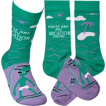 Socks - These Are My Vacation Socks - One Size Fits Most - Cotton, Nylon, Spandex