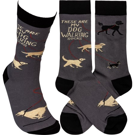 Socks - These Are My Dog Walking Socks - One Size Fits Most - Cotton, Nylon, Spandex