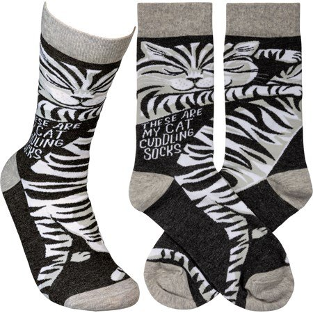 Socks - These Are My Cat Cuddling Socks - One Size Fits Most - Cotton, Nylon, Spandex