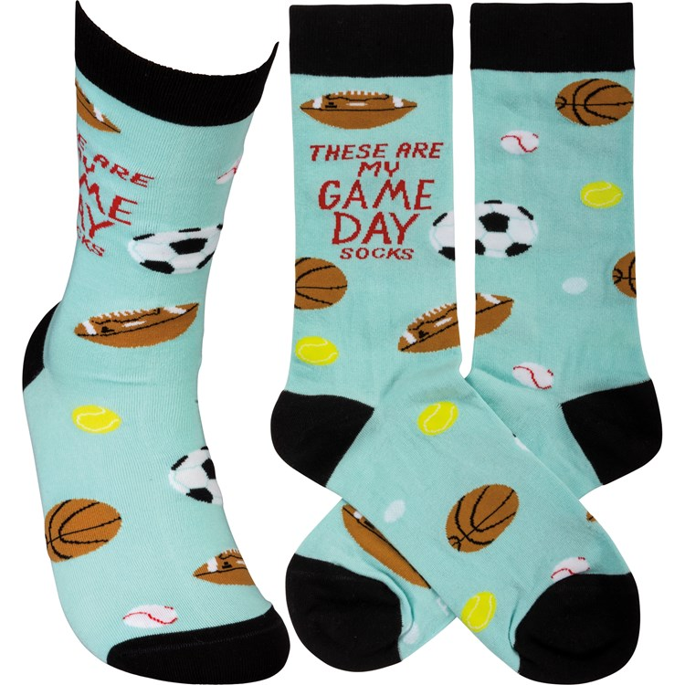 Socks - These Are My Game Day Socks - One Size Fits Most - Cotton, Nylon, Spandex